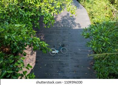 walkway and bike lane in Sri Nakhon Khuean Khan Park, Bang Kachao, Samut Prakan, Thailand.