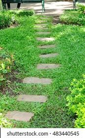Walkway block steps in garden