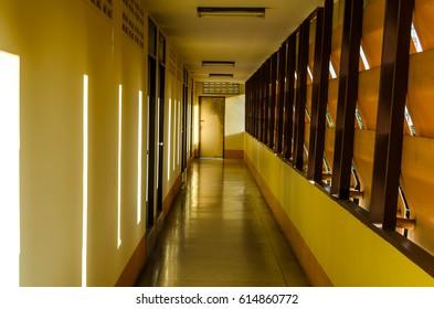 walkway in building at hotel