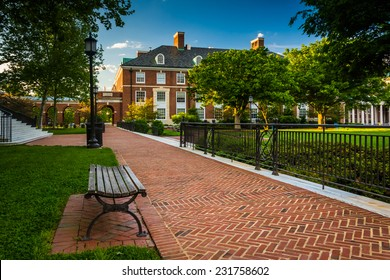 Walkway and buildings at John Hopkins University in Baltimore, Maryland.
