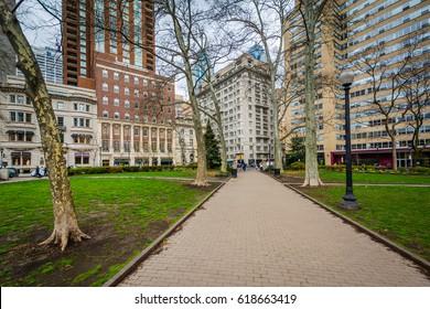 Walkway and buildings at Rittenhouse Square, in Philadelphia, Pennsylvania.