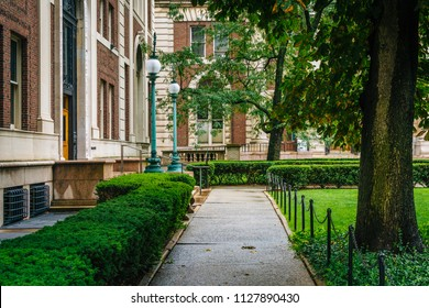Walkway at Columbia University, in Morningside Heights, Manhattan, New York City.