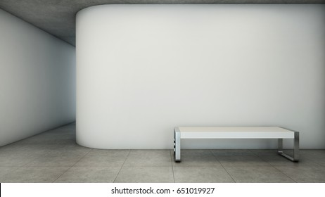 Walkway design modern minimal white bench Curved white wall floor concrete 3D render