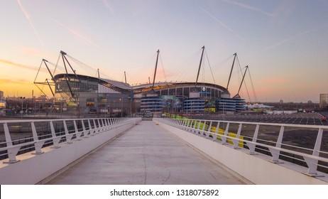 Walkway to Etihad stadium of Manchester City - MANCHESTER / ENGLAND - JANUARY 1, 2019