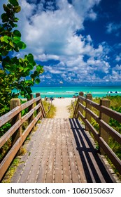 Walkway to famous South Beach, Miami Beach, Florida