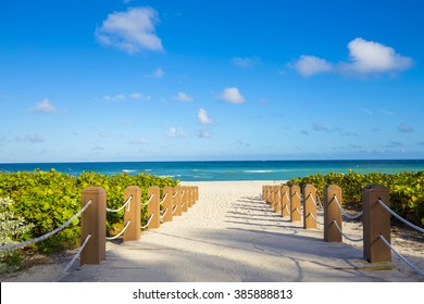 Walkway to famous South Beach, Miami Beach, Florida