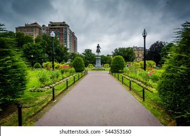 Walkway and gardens at the Public Garden in Boston, Massachusetts.
