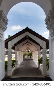 Walkway in the grounds of Sultan Abu Bakar State Mosque Building in Johor Bahru in Malaysia. The mosque was built between 1892 and 1900 and was named after the ruling Sultan at the time.
