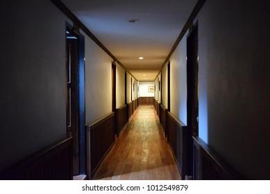 walkway interior at old hotel