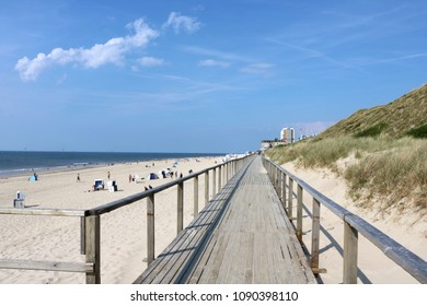 walkway leading to the beach of Westerland on a sunny summer day