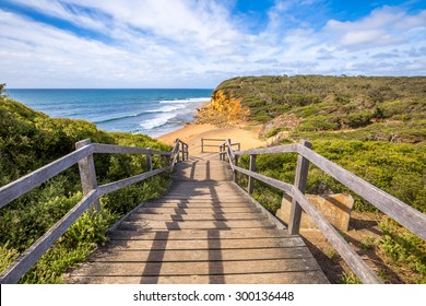 Walkway of the legendary Bells Beach - the beach of the cult film Point Break, near Torquay, gateway to the Surf Coast of Victoria, Australia, where he began the famous  Great Ocean Road