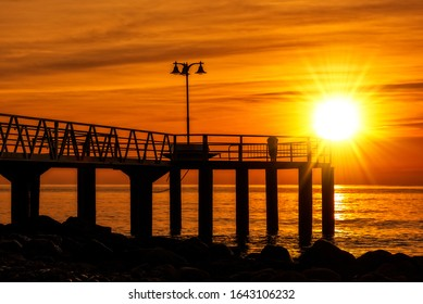 Walkway to the lookout on chilches beach at sunrise, Spain