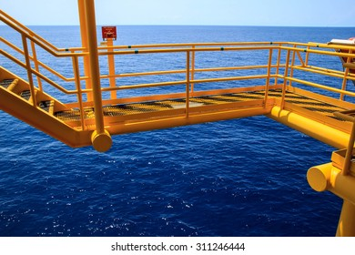 Walkway offshore Industry oil and gas production petroleum pipeline.