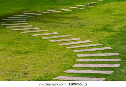 Walkway on green grass in garden. / A stone path through green grass in a garden. / Stone pathway through grass. / Stone walkway.