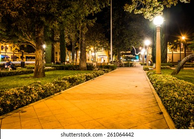 Walkway in Orange Circle at night, in Orange, California.