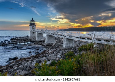 Walkway Out to Marshall Point Lighthouse - Port Clyde, Maine, USA