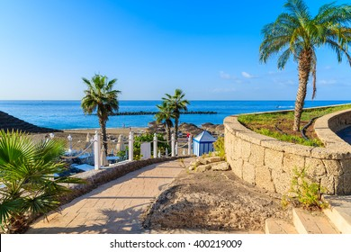 Walkway with palm trees to exotic El Duque beach in Costa Adeje town, Tenerife, Canary Islands, Spain