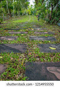 Walkway in the park. Curve walkway with stone tile on green grass field