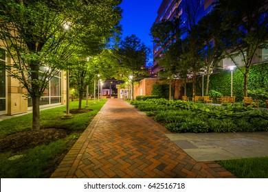 Walkway and park at night, in Bethesda, Maryland.