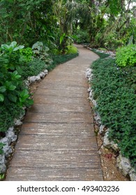 Walkway paved with stone slabs