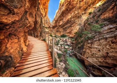 Walkway, pinned along the steep walls