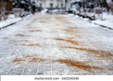 散歩道には、混塩や砂が散らばっていた。舗装上の氷結防止薬品。砂や試薬で滑り止め。氷の多い道路と滑りやすい道路でのけがの危険性