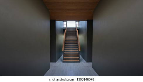 Walkway and stairs on black wall background