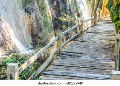Walkway in Tad Mok waterfall, Thailand.