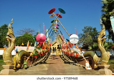 Walkway to the Temple have camber bamboo above the stairs at  BanMo Temple Maerim Chiangmai Thailand