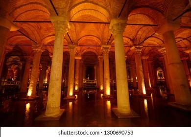 Walkway through the marble columns of the underground Basilica Cistern of Istanbul, Turkey - November 2, 2012