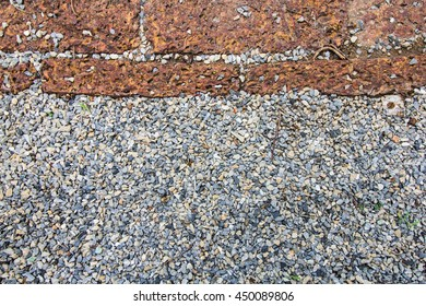 walkway from top view, block background, brick texture and Small stone