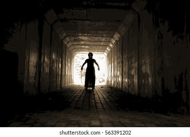Walkway in tunnel with scary woman inside, darkness horror and halloween background concept