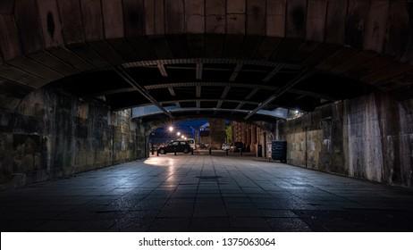 Walkway underpass, swing bridge newcastle upon tyne