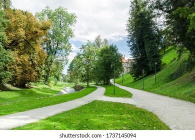 Walkways in Jeleni Zahrada outdoor park, Cesky Krumlov, Czech Republic - Shutterstock ID 1737145094