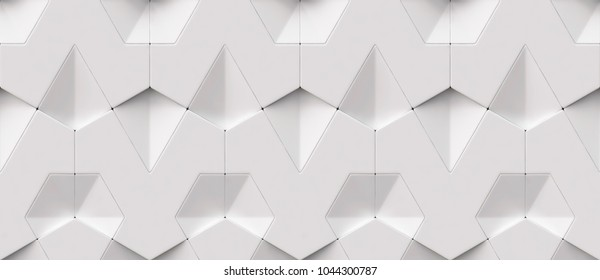 Wall 3d white architectural panels. Shaded geometric modules. High quality seamless 3d illustration.