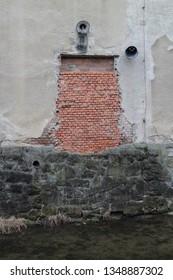 Wall above Bratřejovka river in Vizovice, Zlín region, Czech republic