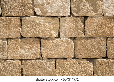 The wall from the ancient blocks of the Nabatean city of Mamshit (Israel, 1st century BC)