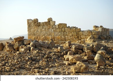 Wall of ancient building in Negev desert, Israel