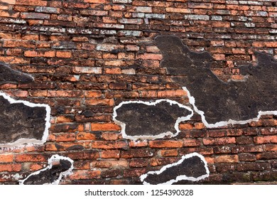 Wall of ancient city made of brick destroy from War in Phra Nakhon Si Ayutthaya Province of Thailand