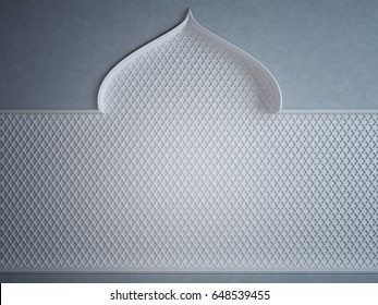 Wall in Arabic style, with a niche and patterns. 3D Render