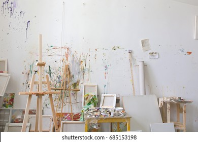 Wall in the artist's studio interior, workshop
