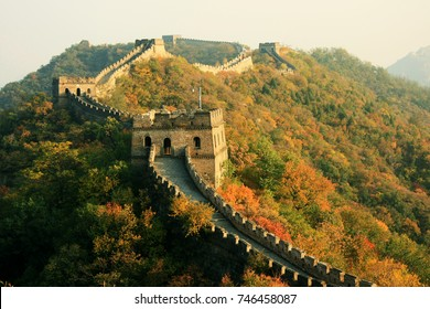 Wall In Autumn China Beijing Great Wall In Autumn The Section Of The