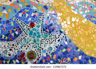 Wall background colorful glass mosaic art.