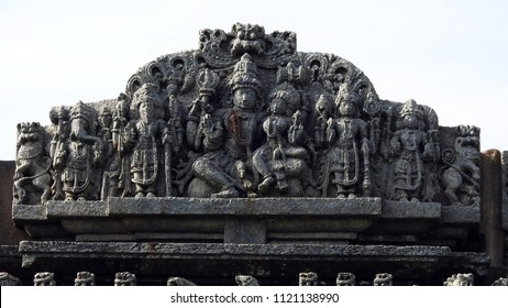 Wall bas-relief depicting the Hindu gods at Bucesvara Temple, Koravangala, Hassan District of Karnataka state, India. The temple was built in 1173 A.D.