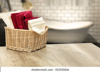 wall in bathroom and towels