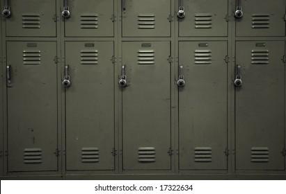 A wall of beige school lockers typical of an American public high-school