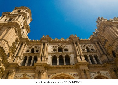 Wall of bell tower of the Cathedral of the Incarnation, a famous landmark in Malaga, Spain