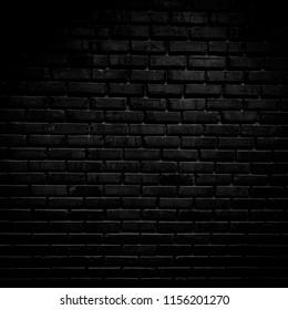 Wall black brick dark pattern background texture