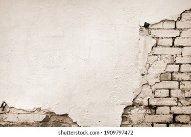 Wall Brick Peeling Plaster Background. Sepia Toned Brickwall Texture For Design.