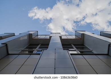 Wall of a building made of metal against the sky